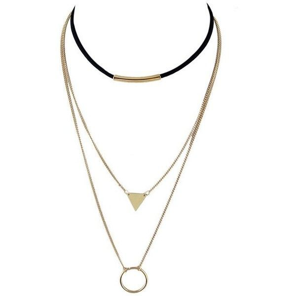 Triangle Circle Bar Multiayer Choker (€2,56) ❤ liked on Polyvore featuring jewelry, necklaces, circle jewelry, choker jewellery, choker jewelry, golden necklace and triangle necklaces