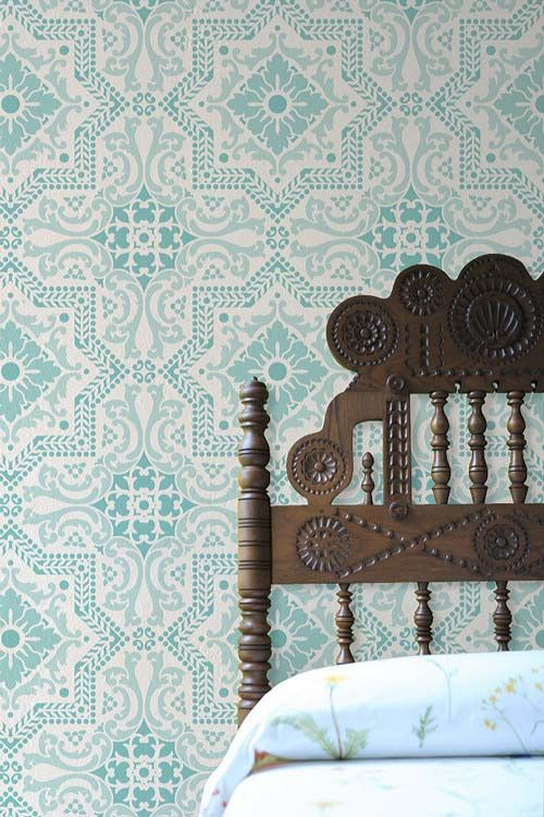 Lisboa Tile Stencils from Royal Design Studio. Perfect fit with that ornate headboard