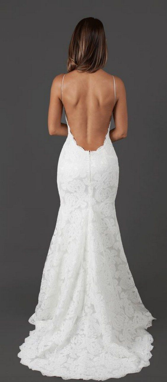 Katie May backless lace wedding dress / http://www.himisspuff.com/open-back-wedding-dresses/11/