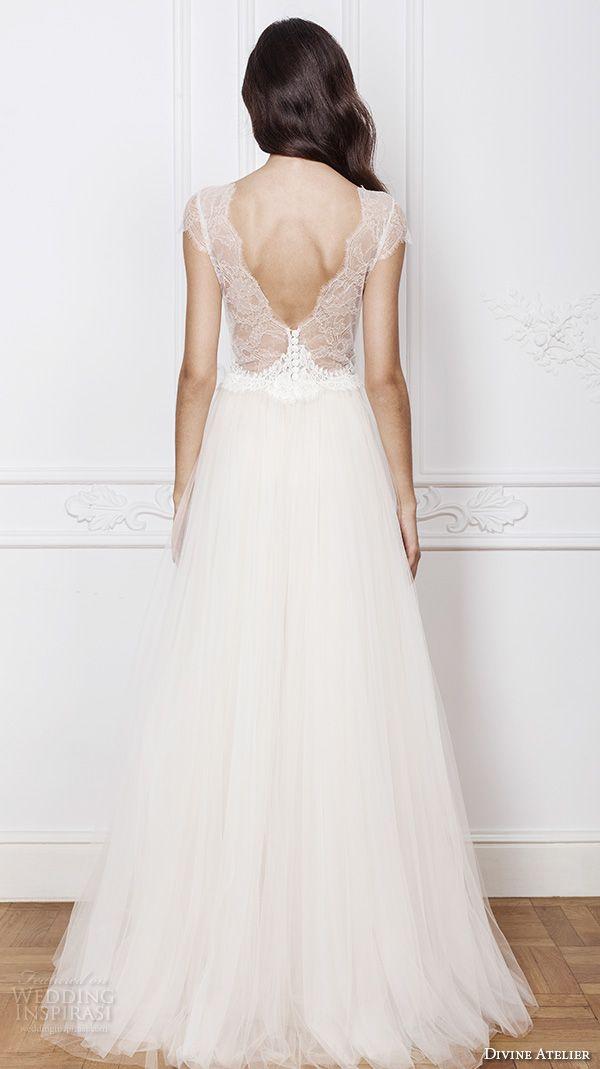 divine atelier 2016 bridal gowns cap sleeves deep v neckline lace bodice tulle skirt romantic a line wedding dress v back brush train (melissa) bv