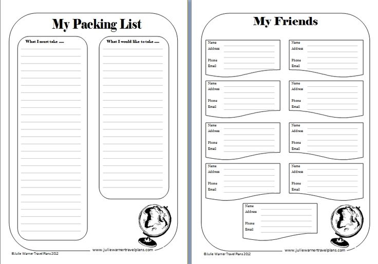 Printable travel journal template travel journal for Printable travel brochure template for kids