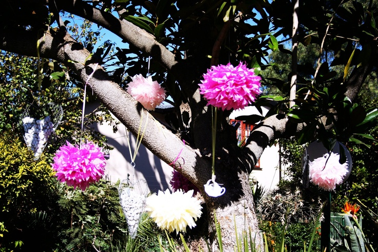 Hanging Pom Poms for the Trees - made using Tissue Paper