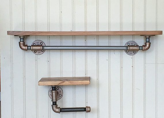 This listing is for a unique set of Industrial Wood Shelves with black pipe fittings. The fittings are treated with Aged Copper spray paint and