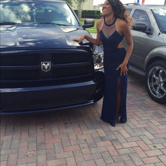 Dark blue prom dress New never worn dark blue prom dress La Femme Dresses Backless