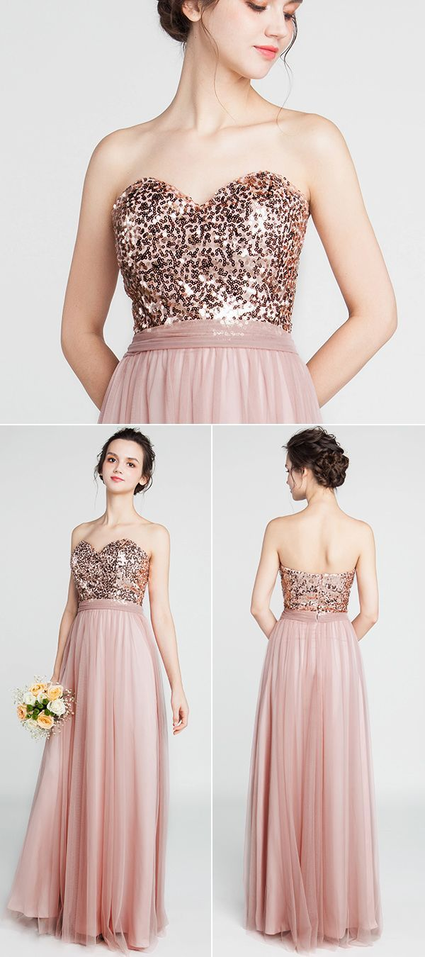 Strapless Sweetheart Long Sequined Bridesmaid Dress with Tulle Skirt ... 6f40c7afdff5