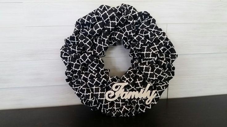 Denim Material Wreath with FAMILY sign #wreath #wreathideas #denim #goldenforrestcreations