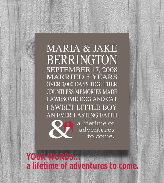 Best 25 personalized anniversary gifts ideas on pinterest personalized anniversary gift 5 or 10 year our love story gift for husband or wife wedding negle Images