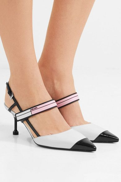 134bacc2a8 ... black and baby-pink rubber Velcro®-PRADA Glossed-leather slingback pumps  $990 fastening front strap, buckle-fastening slingback strap Made in Italy