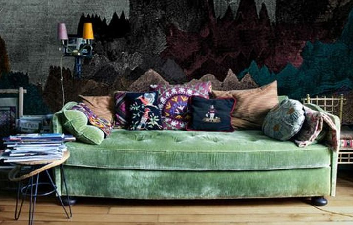 Boho decor bliss bright gypsy color hippie bohemian for Living room decorating ideas green couch