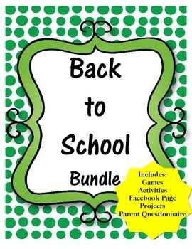 Looking for great games and activities for the first week back at school? This Back to School Activity Bundle includes: * Games * Activities * Create a Facebook Page Template * Newspaper Article Template * Parent Questionnaire * Projects