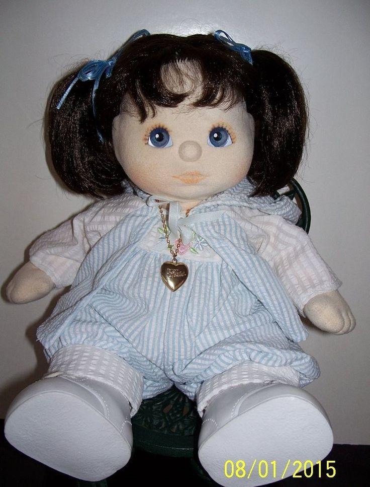 MY CHILD DOLL CUTIE BRUNETTE BLUE EYES BROWN/ORANGE MAKEUP DRESSED WITH LOCKET #MATTEL #DOLL