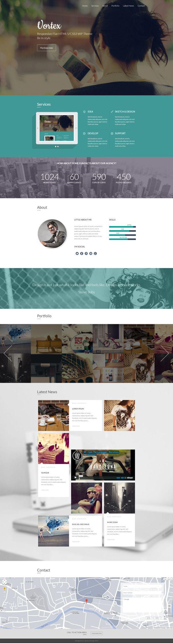 Vortex - One Page Parallax Flat WordPress Theme by Zizaza - design ocean , via Behance