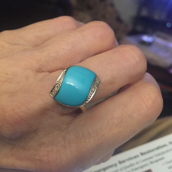 14k yellow gold sleeping beauty ring size 6 Genuine natural sleeping beauty turquoise Jewelry Rings