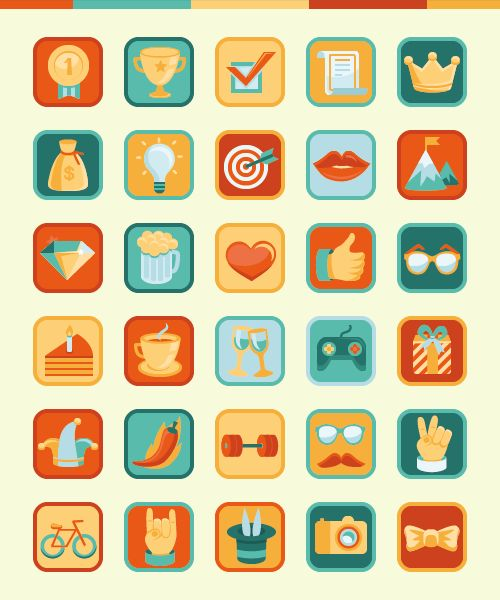 Icons in retro style by Nina Magradze, via Behance