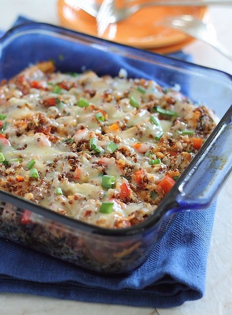 'Cheddar Chicken Quinoa Bake: great way to introduce quinoa (high protein and fiber whole grain) to your family! Use rotisserie chicken for a quick meal. And use reduced fat cheese and youll have one incredibly healthy and family pleasing meal.'