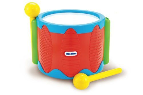 Little Tikes Tap A Tune Drum by Little Tikes. $38.00. Handy stick clip-ons prevents the sticks from getting lost. Smooth rounded corners for safety ? no sharp edges. Provides creative cause and effect play. From the Manufacturer                Little Tikes Tap-A-Tune products help very young kids take their first steps into the world of music. The brightly colored pieces and cheery tones encourage them to tap into their developing creative skills and make their own tunes...