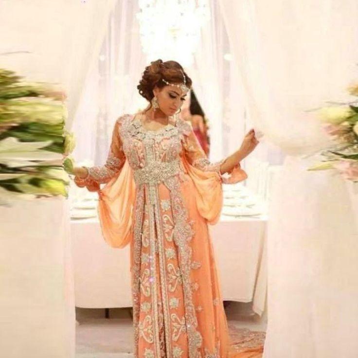 Роскошные арабский стиль с длинным рукавом халат де вечер элегантный абая дубай кафтаны кафтан из бисера о-образным шея-линии мусульманин вечерние платья