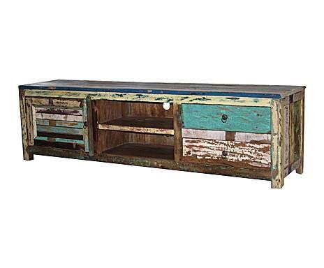 Paraísos lejanos: Mueble de TV en teca – multicolor