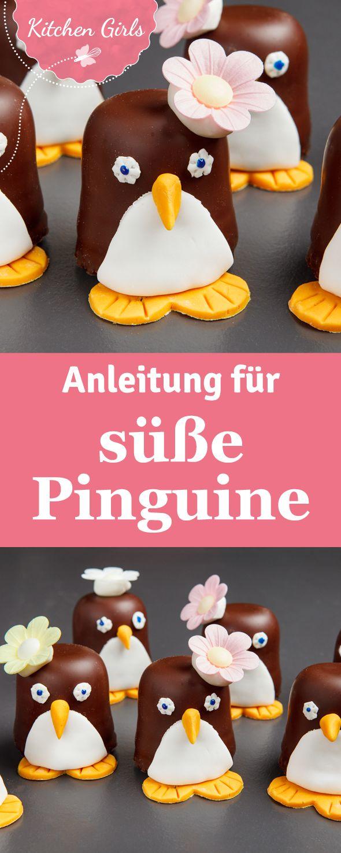 Tolle Idee zu Karneval und für den Kindergeburtstag: Aus Schokoküssen werden süße Pinguine.