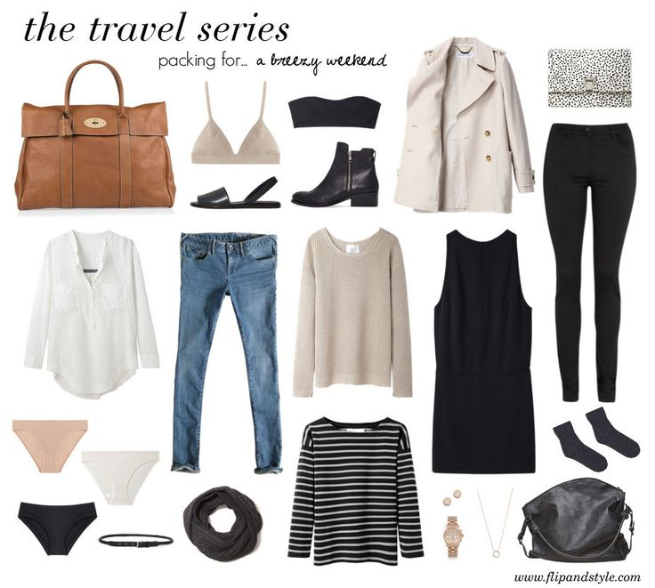 Cool weather packing perfection...two bottoms, three tops, a dress and a coat...... Minimalist weekend packing
