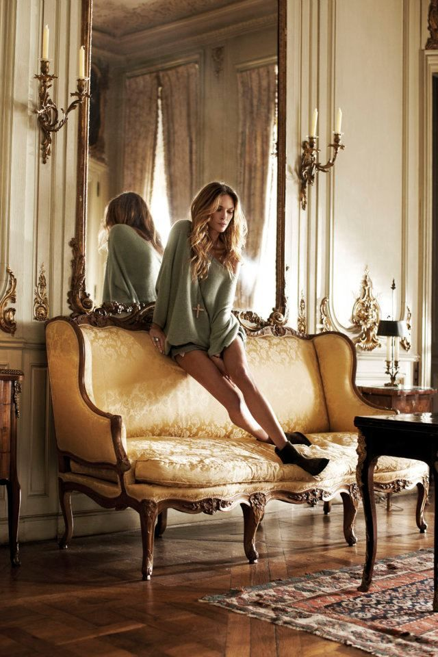 love erin wassonFrench Provincial, Messy Hair, Style, Erin Wasson, Over Sweaters, Erinwasson, Dreams Living Room, French Design, Mirrors Mirrors