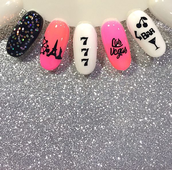 81 Black Las Vegas Nail Decals | 8 Las Vegas | 13 I Love Vegas | 13 City Silhouette | 4 Ferris Wheels | 18 Lucky 7's | 4 Bar Signs | 7 Martini Glasses | 12 Cherrys | Vegas Nails | Vegas Nail Art