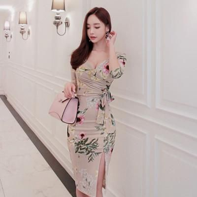 831449805b78 New Spring Korean Style Women Pencil Knee Length Dresses Bodycon Print  Dresses Sexy V-neck Split Office Lady Hot sales
