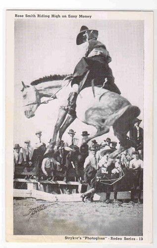 Rose Smith Cowgirl Bucking Bronco Horse Rodeo Texas Postcard | eBay