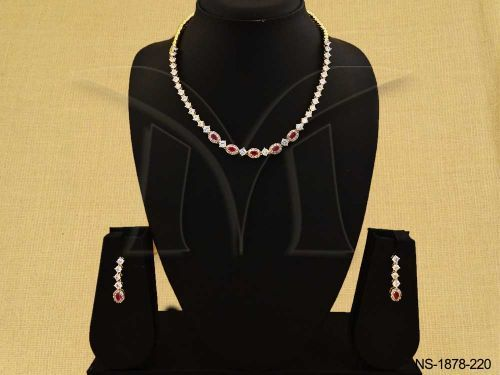 NS-1878-220 || SIMPLE STYLE PARTY WEAR AD NECKLACE SET