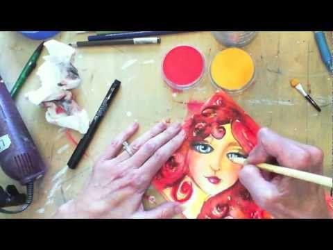 ▶ Mixed Media Art Girl - YouTube - awesome face, fabulous hair.