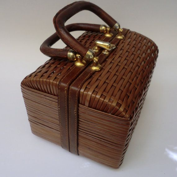 Vintage Wicker and Leather BASKET PURSE by BabylonSisters on Etsy, $36.00