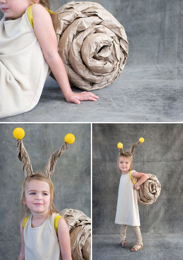 DIY - snail costume - The main thing you need for this costume is a brown kraft paper to make the shell. The little trick or treater wears it like a backpack. It is a pretty simple process, just try not to leave a trail of slime on the jaunt around the neighborhood for candy.