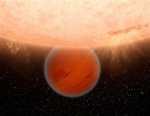 L'exoplanète Gliese 436b. Cette Neptune chaude est située dans la constellation du Lion.