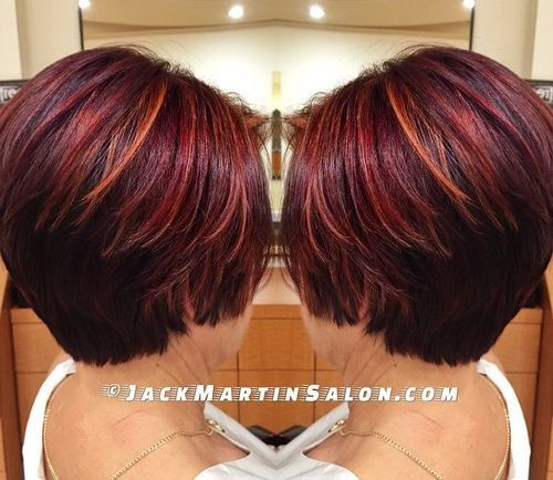 burgundy hair with orange highlights