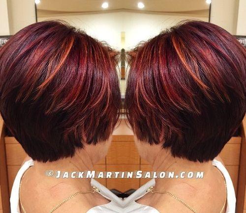 burgundy hair with orange highlights