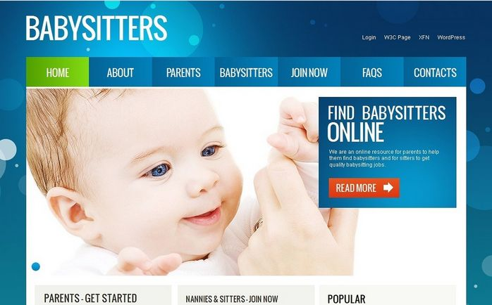 Babysitters Nanny Moto CMS HTML Templates by Mercury