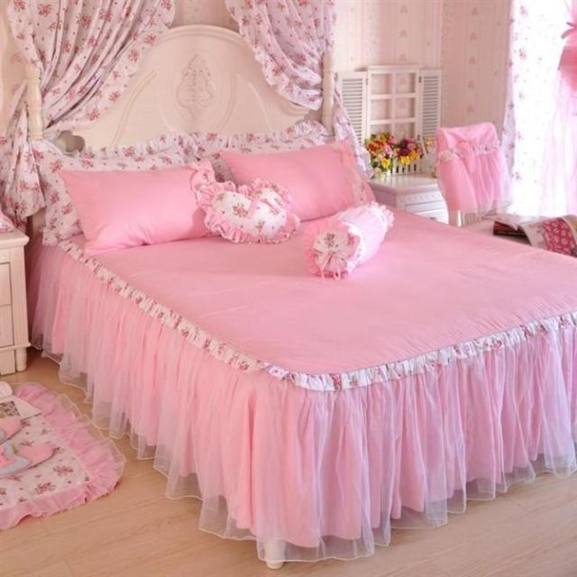Rustic princess bedding lace bedspread bed skirted 100% cotton six pieces set pink-in Bedding Sets from Home & Garden on Aliexpress.com