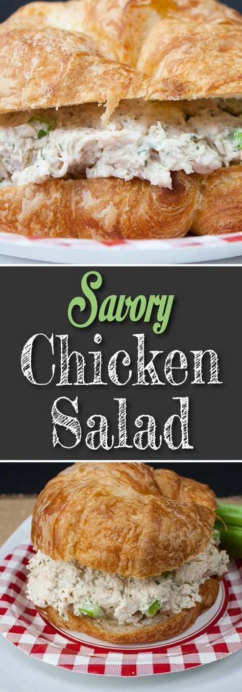 Savory Chicken Salad - Not your typical chicken salad recipe. No nuts, no fruit here! The best-tasting chicken salad!