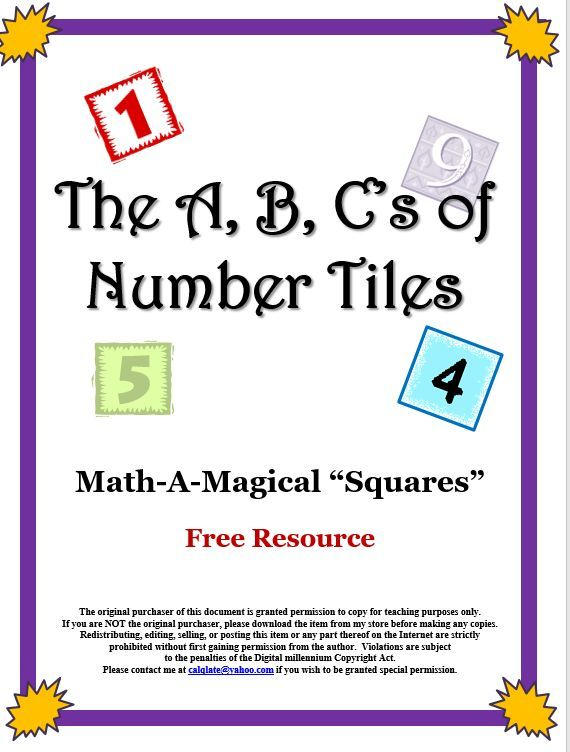 The construction of magic squares provides practice in mental arithmetic plus it encourages logical reasoning. The three letters of this 10 page free resource are solved in a similar way. Number tiles are arranged in such a manner that the sum of the tile