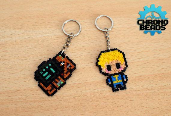 Fallout 4 Pip Boy Vault Boy Keychain hama beads by ChronoBeads