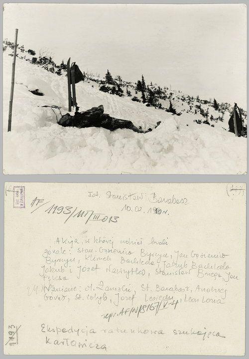 Stanisław Barabasz, Ciało Mieczysława Karłowicza wydobyte z lawiny pod Małym Kościelcem - 10 lutego 1910 [?].