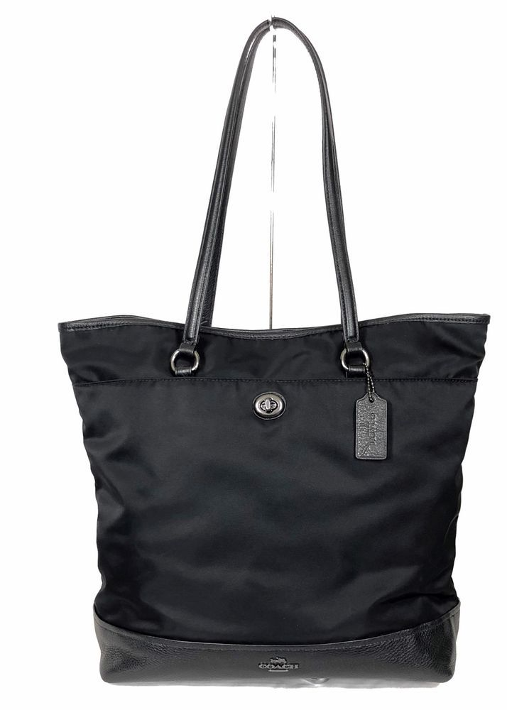 Coach Nylon Tote Bag Purse Black Shoulder Leather Carryall F57903 Ebay