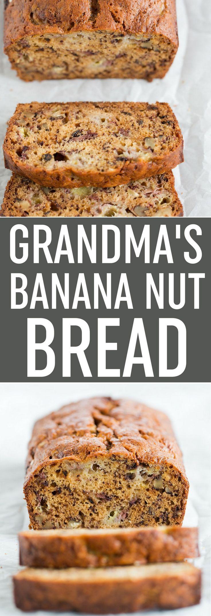 Grandma's Banana Nut Bread - My grandma's classic banana bread recipe, loaded with mashed bananas and chopped walnuts; super moist and so easy to make. A family favorite! via @browneyedbaker