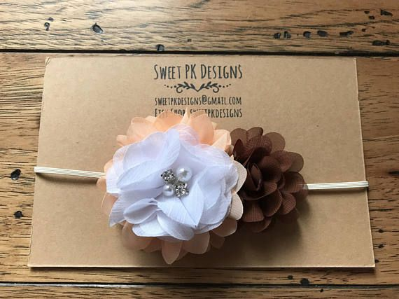 Peach brown and white bow headband witb rhinestone