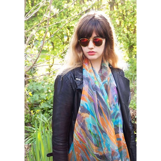 Bright #colours for a #bright #sunnyday #handpainted #silkscarf #sheer #silkchiffon #model #photoshoot #leatherjacket styled for variable #English #summer #weather #AgnesAshe