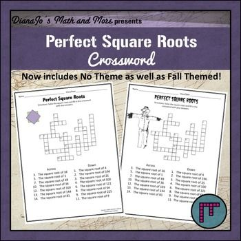 From the Square Root of 1 to the Square Root of 225Fall Themed and no Themed provided. Fun activity. Answer Sheet Provided.It's now in TWO BundlesCrossword Puzzle Bundle: Perfect Squares, Perfect Square Roots and Estimating Square Roots.  Here's the link:Square Roots and Perfect Squares CROSSWORD BUNDLEAND Squares and Roots Bundle: 3 Crosswords, 2 Math and ART!