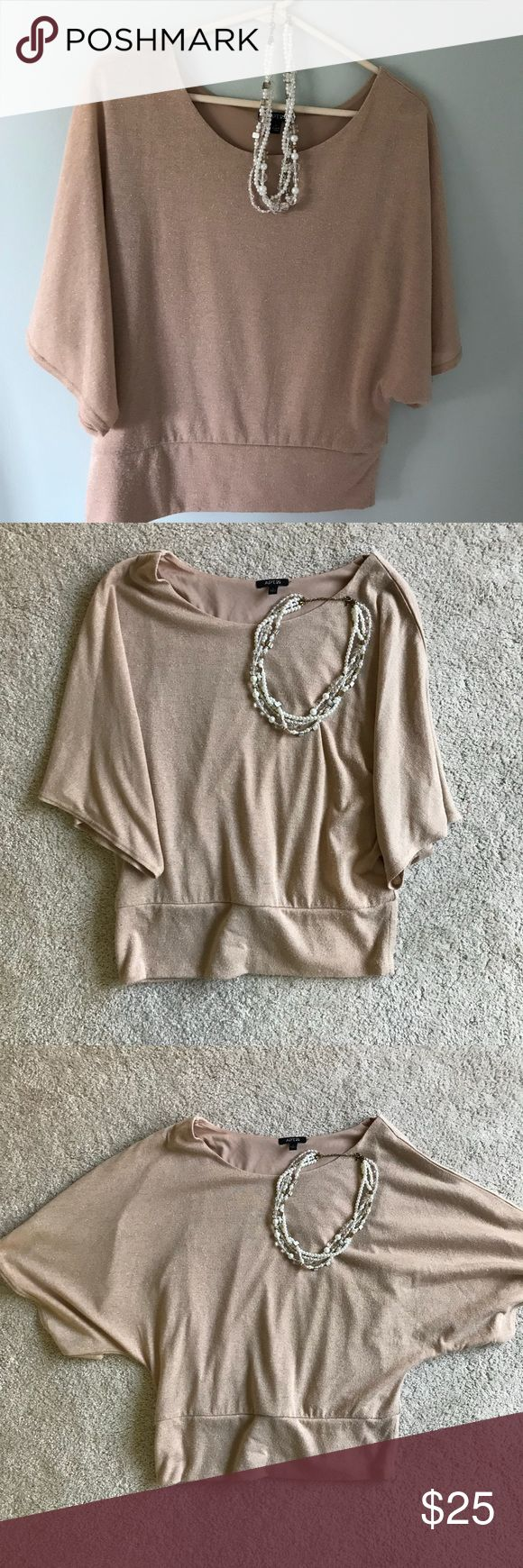{Apt. 9} Gold Shirt, L Batwing style sleeve, size large, gold flakes, cuffed bottom Apt. 9 Tops