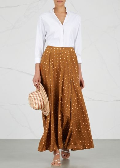Diane von Furstenberg sepia silk crepe de chine maxi skirt Polka-dot print Button fastenings through front 100% silk