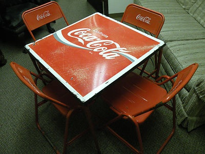 Rare Old Coca Cola Coke Sign Porcelain Table 4 Chairs ~Antique Soda  Fountain~
