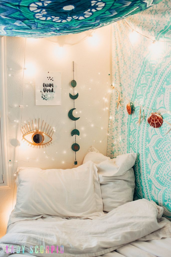 Bedroom Goals ✨ ☽ ✩ Mermaid themed room by Lady Scorpio | Bohemian turquoise seafood Bedroom Moon Phase Wall Hanging Decor Tapestry Design Polaroids all seeing eye Boho Bungalow UOhome urban outfitters apartment dorm || Save 25% off all orders with code PINTERESTXO at checkout | Shop Now LadyScorpio101.com